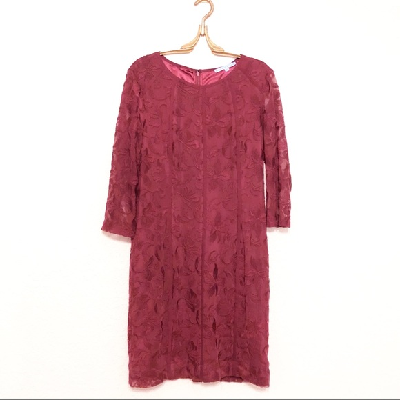 ANTONIO MELANI Dresses & Skirts - Antonio Melani Burgundy Sheath Dress 14 Lace Wine